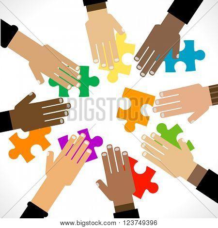 diversity hands puzzle illustration