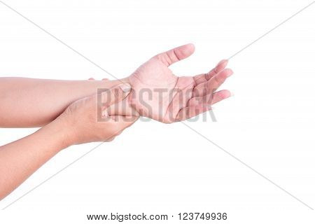 Close up woman's hand holding her wrist isolated on white background. Elbow pain concept.