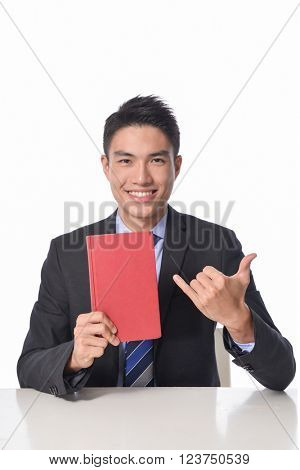 Smile businessman with mobile phone
