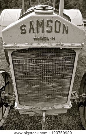 ROLLAG, MINNESOTA-September 3, 2015: The Samson tractor company was purchased by GM in 1916 , existing until 1923 with the Model M as the featured tractor.