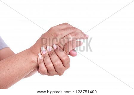 Close Up Woman's Holding Her Hand Isolated On White. Hand Pain Concept.