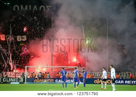 Thessaloniki Greece - March 02 2016: View of the Toumba Stadium full of fans of PAOK who light flares during the semifinal Greek Cup game between PAOK and Olympiacos played at Toumba stadium