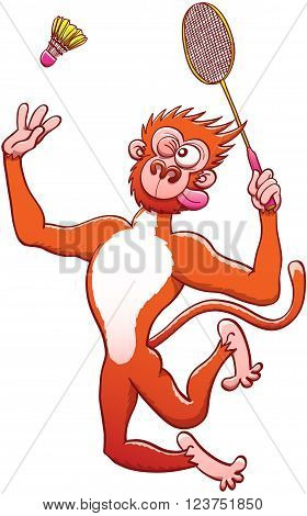Athletic red monkey with long tail and bulging eyes while grabbing a racket, staring at the shuttlecock and preparing for a vigorous vertical jump smash in a badminton match