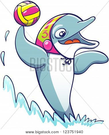 Cool athletic dolphin wearing a colorful cap, smiling and keeping balance out of the water thanks to the power of its tail while holding a ball and preparing to shoot in a water polo match