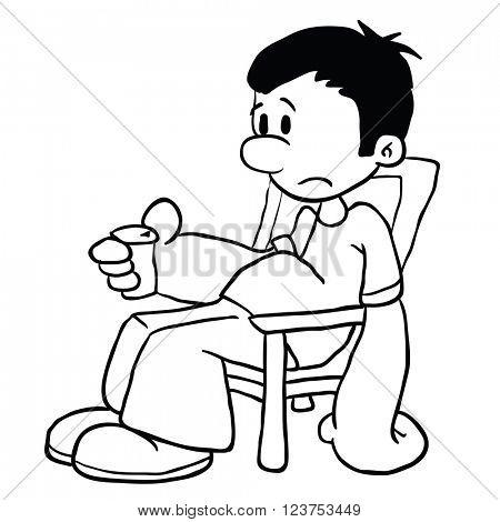 black and white sad boy cartoon