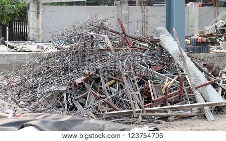 Debris in the construction area. danger zone