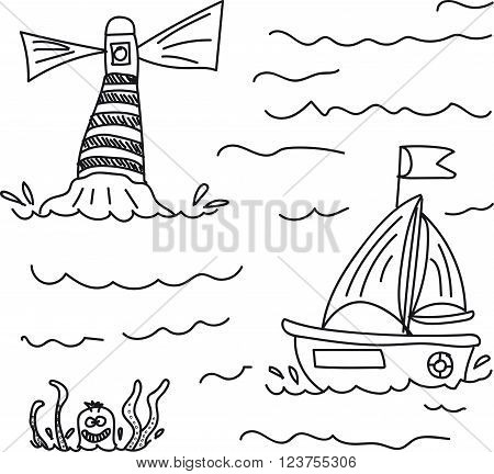 the boat sails to sea past the lighthouse, in the water it is threatened by a giant octopus, black and white, on a transparent background