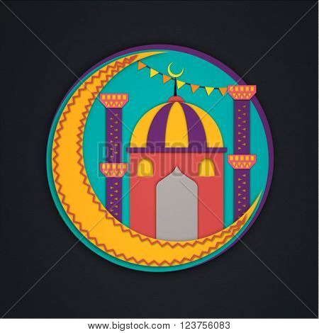 Sticker, tag or label design with colorful Mosque and crescent Moon for Islamic Festival celebration.