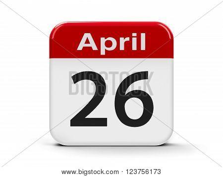 Calendar web button - Twenty Sixth of April - World Intellectual Property Day three-dimensional rendering