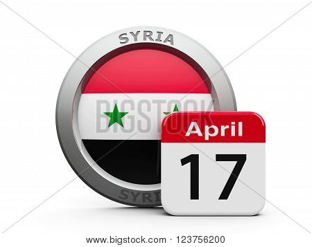 Emblem of Syria with calendar button - Seventeenth of April - represents the Syria independence day three-dimensional rendering