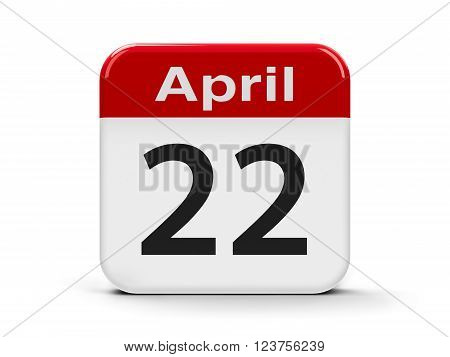 Calendar web button - Twenty Second of April - International Earth Day three-dimensional rendering