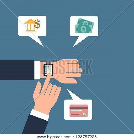 Smart watch banking concept vector illustration design