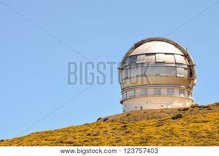 Photo Picture of a Modern Scientific Astronomical Observatory Telescope poster