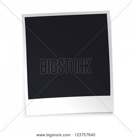 Photo frame with shadow on white background. Design template.