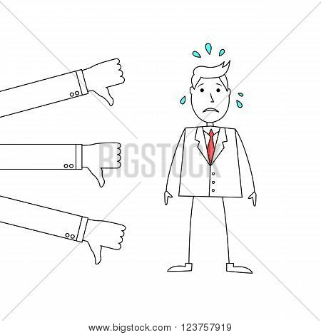 Worried businessman at thumbs down review from others