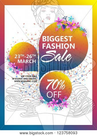 Biggest Fashion Sale Poster, Sale Banner, Sale Flyer, 70% Discount, Creative vector illustration.