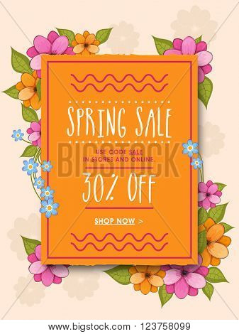Spring Sale Poster, Sale Banner, Sale Flyer, 30% Off, Vector illustration with beautiful flowers.