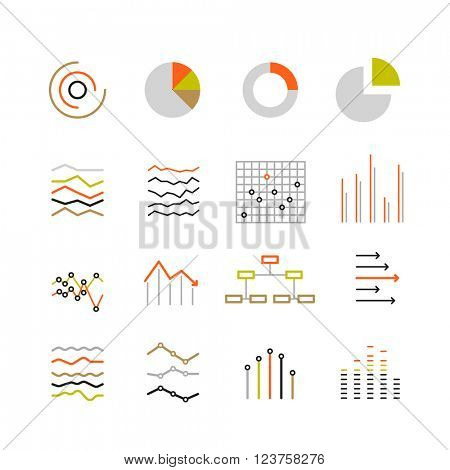 Different graphic ratings and charts. Lineart design color collection