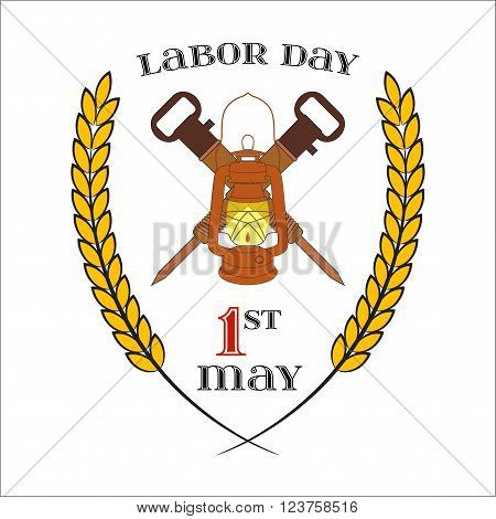 May Day. May 1st. Labor Day Icon with two crossed jackhammers and lantern over white . Element for poster, greeting card or brochure template, logo, symbol of work and labor, vector icon