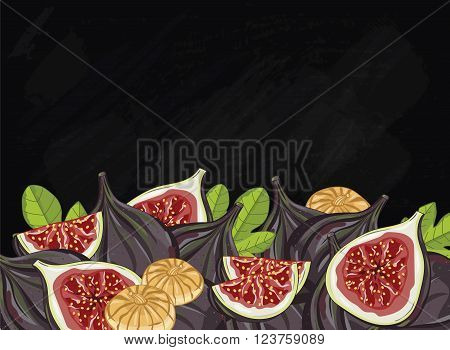 Figs on chalkboard background. Figs composition, plants and leaves. Organic fruit. Summer fruit. Fruit background for packaging design. Figs fruit with green leaf. Ripe fruit.