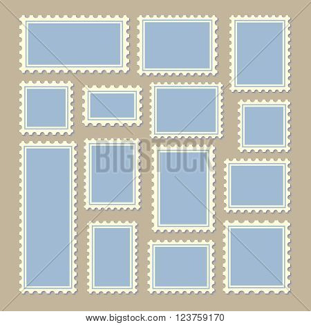 empty blank postage stamps different size in blue and white color isolated on beige background with shadows. vector illustration