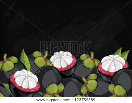 Mangosteen on chalkboard background. Mangosteen composition, plants and leaves. Organic food. Summer fruit. Fruit background for packaging design. Mangosteen with green leaf. Ripe fruit.