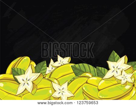 Carambola on chalkboard background. star fruit composition, plants and leaves. Organic food. Summer fruit. Fruit background for packaging design. Star fruit with green leaf. Ripe fruit.