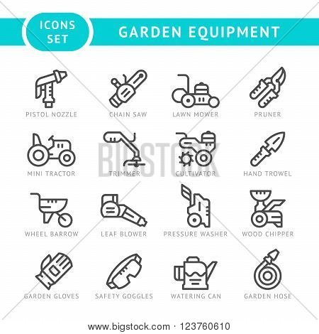 Set line icons of garden equipment isolated on white. Vector illustration