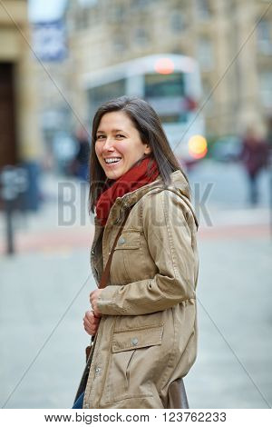 Street shoot of young attractive happy woman