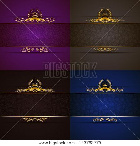 Set of elegant templates with golden frame banner, gold crown, laurel wreath on ornate floral background. Luxury floral invitation, greeting, gift card in vintage style. Vector illustration EPS 10.