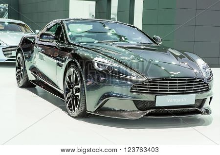 Bangkok - March 22 : black Aston Martin series Vanquish - in display at The 37th Bangkok international Motor Show 2016 on March 22 2016 in Bangkok Thailand
