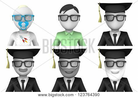3d avatar faces. Scientists and university students