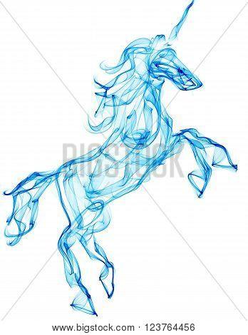 Air unicorn. Smoke texture illustration. Mythology creature