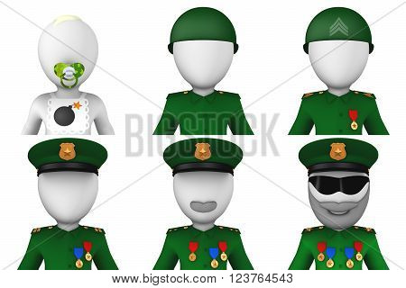 3d military avatars: soldier, sergeant, officer, colonel, general