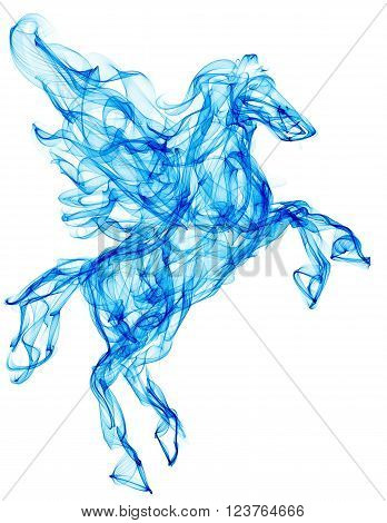 Air pegasus. Smoke texture illustration. Mythology creature