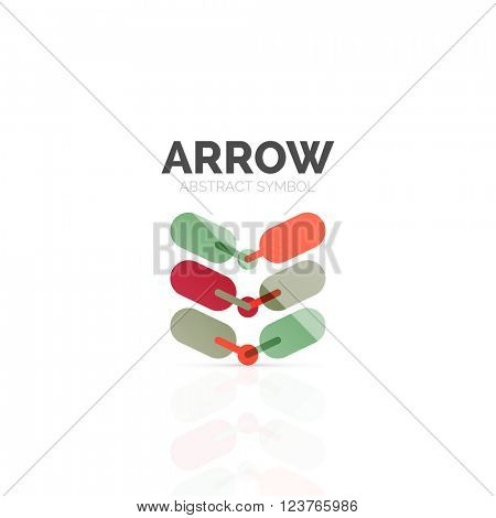 Linear arrow abstract logo, connected multicolored segments of lines in directional pointer figure. Vector wire business icon isolated on white
