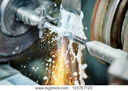 metalworking industry. finishing metal surface on grinder machine  poster