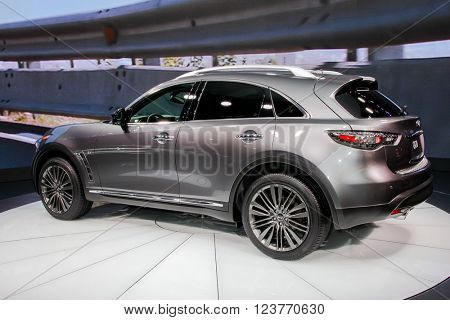 NEW YORK - March 23: A Infiniti QX70 exhibit at the 2016 New York International Auto Show during Press day,  public show is running from March 25th through April 3, 2016 in New York, NY.
