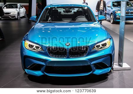 NEW YORK - March 23: A BMW M2 Coupe exhibit at the 2016 New York International Auto Show during Press day,  public show is running from March 25th through April 3, 2016 in New York, NY.
