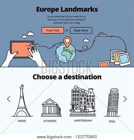 Europe landmarks and favorite travel destinations. Travel planning illustration