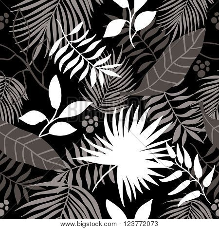 seamless jungle pattern background. Black and white.