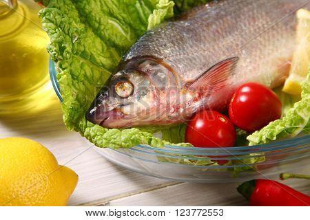 fresh raw fish on table