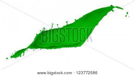 green paint splash isolated on white background