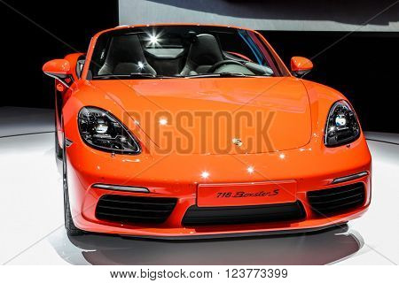 NEW YORK - MArch 23: A Porsche 718 Boxter S at the 2016 New York International Auto Show during Press day,  public show is running from March 25th through April 3, 2016 in New York, NY.