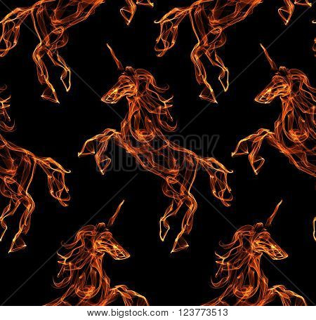 Flaming unicorn. Fire texture pattern. Mythology creature