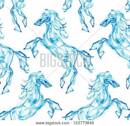 Air horse. Smoke texture pattern. Dream style