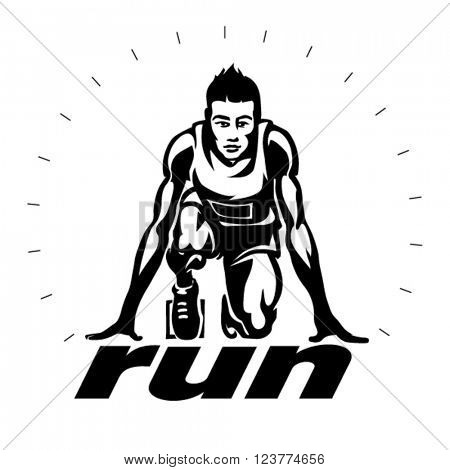 Runner on the start. Vector illustration in the engraving style