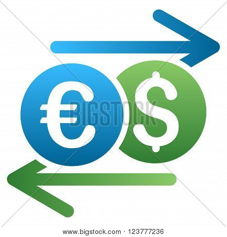 Dollar Euro Swap vector toolbar icon for software design. Style is a gradient icon symbol on a white background.