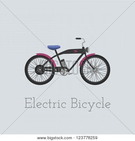 Vector electric bicycle illustration. Electric bicycle isolated on white background. Bike vector. Electric-bicycle moto bike illustration. Bike vector