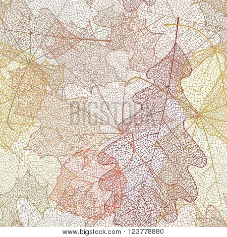 Seamless autumn pattern from skeletons of leaves. Vector illustration for banner, card, background, textile, paper packaging, wrapping paper, scrapbooking, wallpaper and textile. Vector illustration.